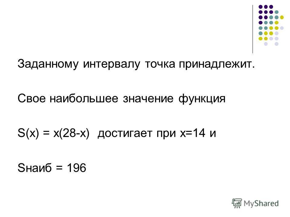 Заданному интервалу точка принадлежит. Свое наибольшее значение функция S(x) = x(28-x) достигает при х=14 и Sнаиб = 196