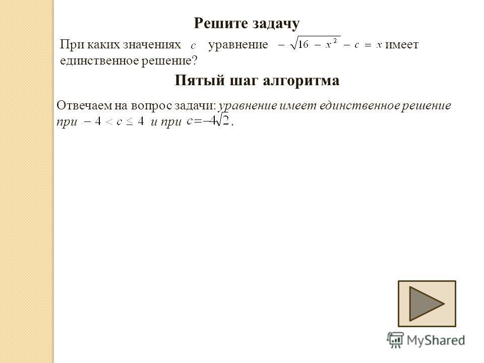 Решите задачу При каких значениях уравнение имеет единственное решение? Пятый шаг алгоритма Отвечаем на вопрос задачи: уравнение имеет единственное решение при и при.
