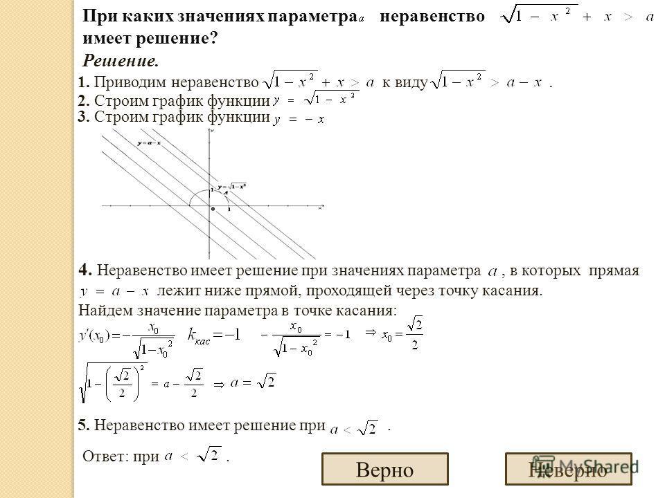 При каких значениях параметра неравенство имеет решение? Решение. 1. Приводим неравенство к виду. 2. Строим график функции 3. Строим график функции 4. Неравенство имеет решение при значениях параметра, в которых прямая лежит ниже прямой, проходящей ч