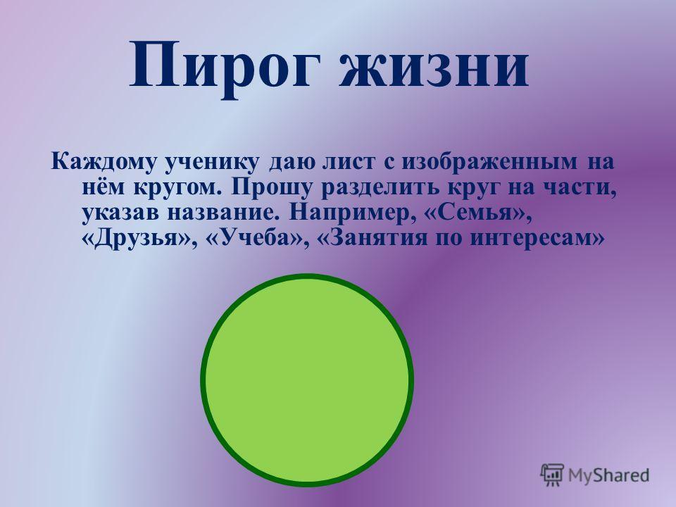 Каждому ученику даю лист с изображенным на нём кругом. Прошу разделить круг на части, указав название. Например, « Семья », « Друзья », « Учеба », « Занятия по интересам » Пирог жизни
