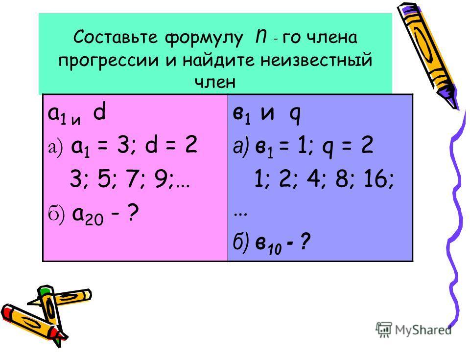Составьте формулу п - го члена прогрессии и найдите неизвестный член а 1 и d а) а 1 = 3; d = 2 3; 5; 7; 9;… б) а 20 - ? в 1 и q а) в 1 = 1; q = 2 1; 2; 4; 8; 16; … б) в 10 - ?