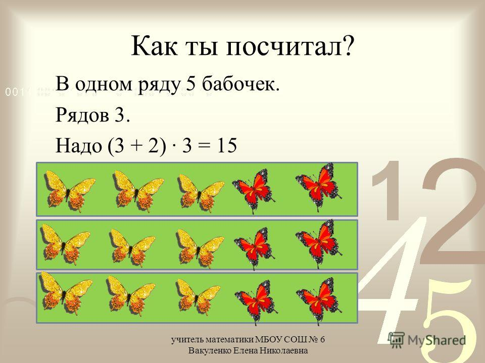 Как ты посчитал? В одном ряду 5 бабочек. Рядов 3. Надо (3 + 2) · 3 = 15 учитель математики МБОУ СОШ 6 Вакуленко Елена Николаевна