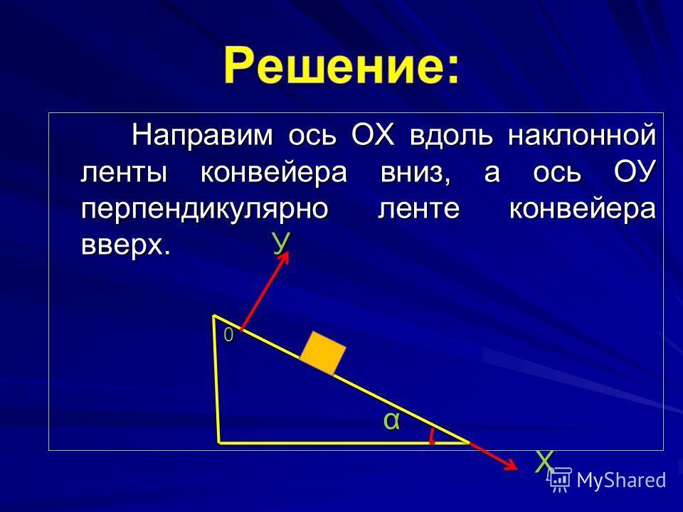 Направим ось ОХ вдоль наклонной ленты конвейера вниз, а ось ОУ перпендикулярно ленте конвейера вверх. У Направим ось ОХ вдоль наклонной ленты конвейера вниз, а ось ОУ перпендикулярно ленте конвейера вверх. У 0 α Х