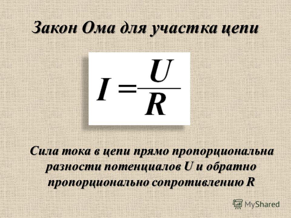 Закон Ома для участка цепи Сила тока в цепи прямо пропорциональна разности потенциалов U и обратно пропорционально сопротивлению R