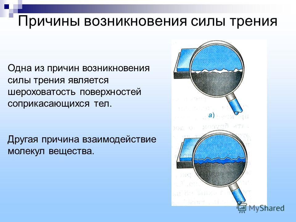 Причины возникновения силы трения Одна из причин возникновения силы трения является шероховатость поверхностей соприкасающихся тел. Другая причина взаимодействие молекул вещества.