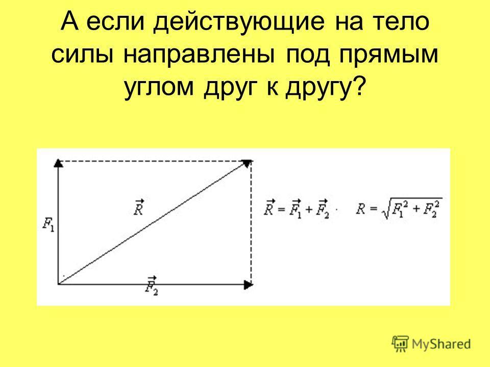 А если действующие на тело силы направлены под прямым углом друг к другу?