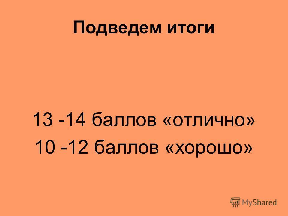 Подведем итоги 13 -14 баллов «отлично» 10 -12 баллов «хорошо»