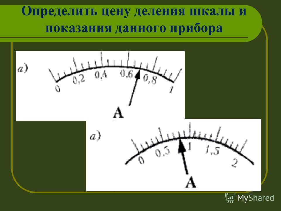 Определить цену деления шкалы и показания данного прибора