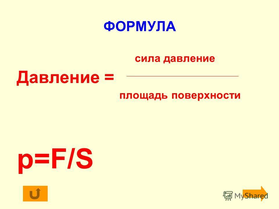 ФОРМУЛА сила давление Давление = площадь поверхности p=F/S