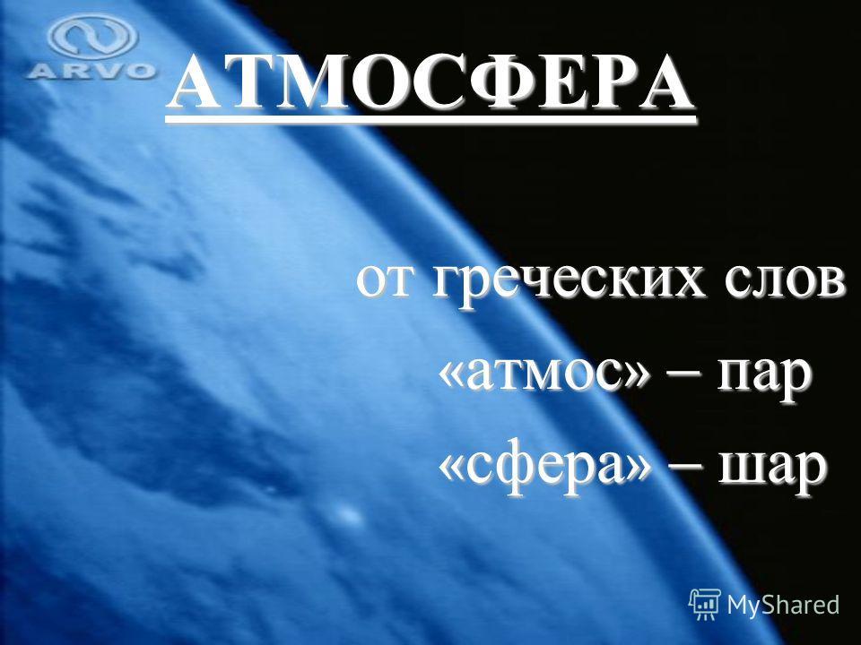 АТМОСФЕРА от греческих слов от греческих слов « атмос » – пар « атмос » – пар « сфера » – шар « сфера » – шар