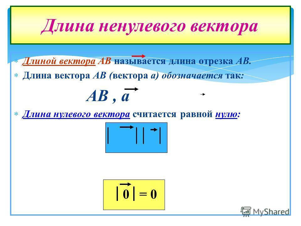 Длиной вектора АВ называется длина отрезка АВ. Длина вектора АВ (вектора а) обозначается так: АВ, а Длина нулевого вектора считается равной нулю: Длина ненулевого вектора 0= 0