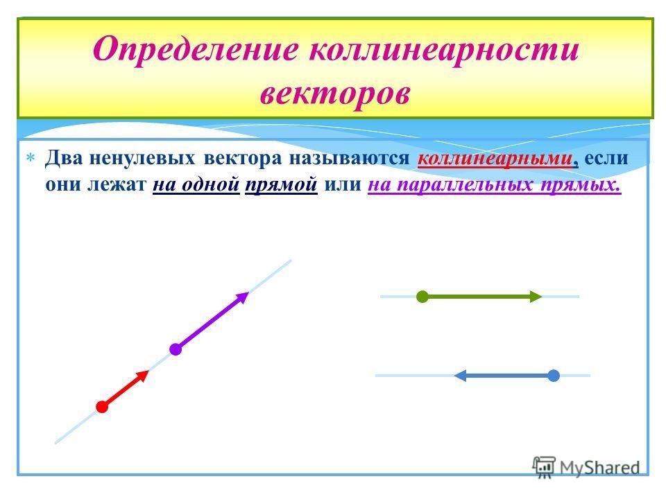 Два ненулевых вектора называются коллинеарными, если они лежат на одной прямой или на параллельных прямых. Определение коллинеарности векторов