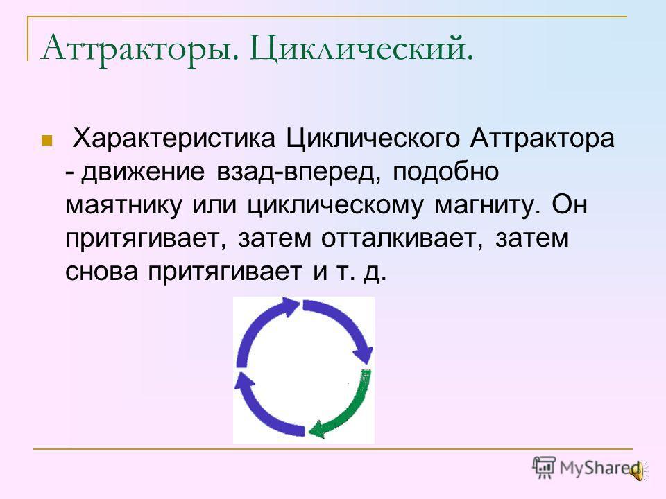 Аттракторы. Точечный. Точечный Аттрактор - аттрактор первой размерности. Точечный аттрактор – это седловая точка. В ней находятся в равновесии все виды энергии перед тем, как та или иная сила возобладает и направит энергию в ту или иную сторону.