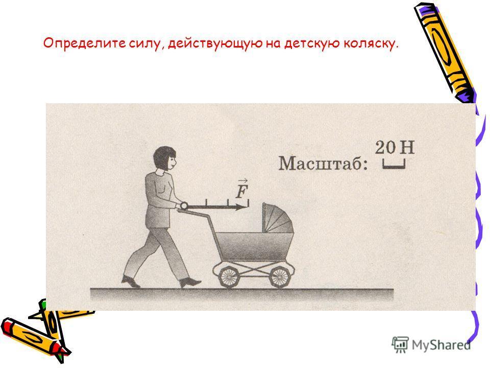 Определите силу, действующую на детскую коляску.