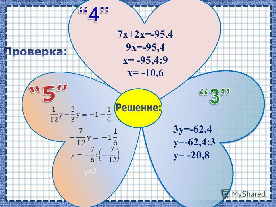 7х+2х=-95,4 9х=-95,4 х= -95,4:9 х= -10,6 3у=-62,4 у=-62,4:3 у= -20,8 у=2