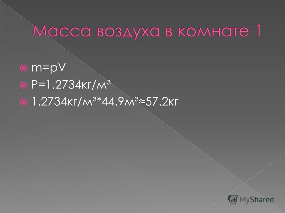 m=pV P=1.2734кг/м³ 1.2734кг/м³*44.9м³57.2кг