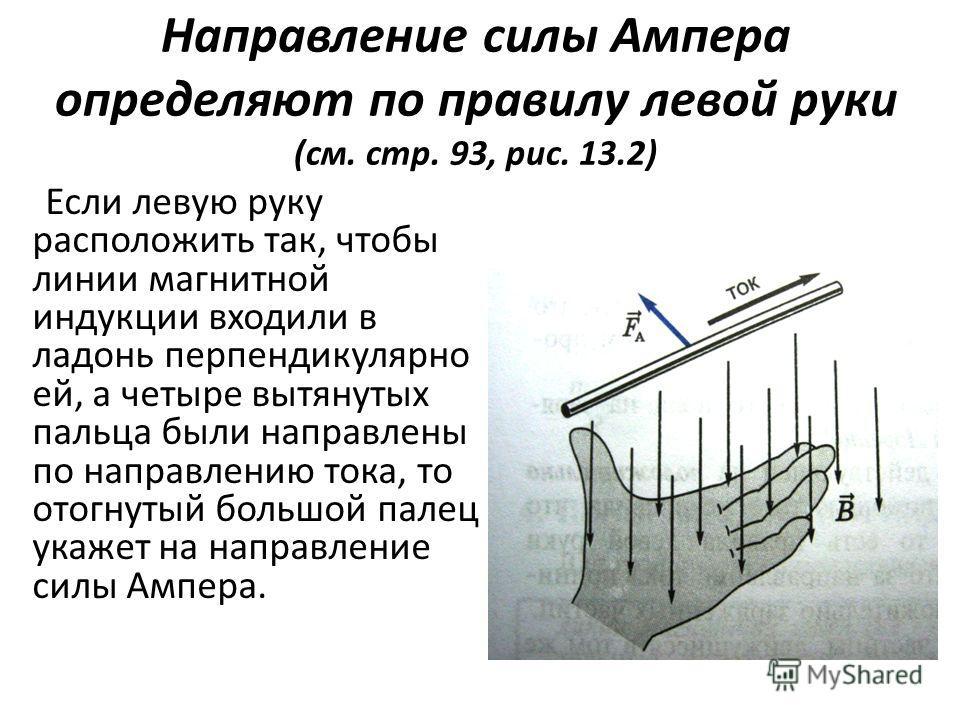 Направление силы Ампера определяют по правилу левой руки (см. стр. 93, рис. 13.2) Если левую руку расположить так, чтобы линии магнитной индукции входили в ладонь перпендикулярно ей, а четыре вытянутых пальца были направлены по направлению тока, то о
