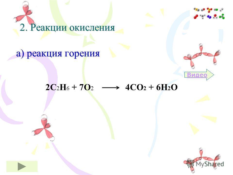 2С 2 Н 6 + 7О 2 4СО 2 + 6Н 2 О 2. Реакции окисления а) реакция горения Видео