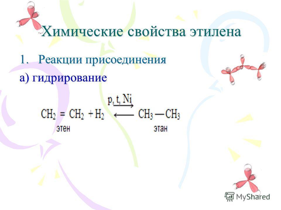 Химические свойства этилена 1.Реакции присоединения а) гидрирование