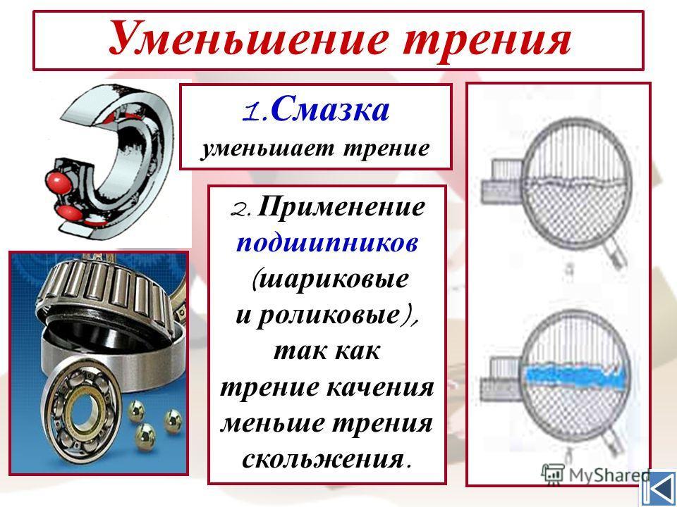 25 Уменьшение трения 1. Смазка уменьшает трение 2. Применение подшипников ( шариковые и роликовые ), так как трение качения меньше трения скольжения.