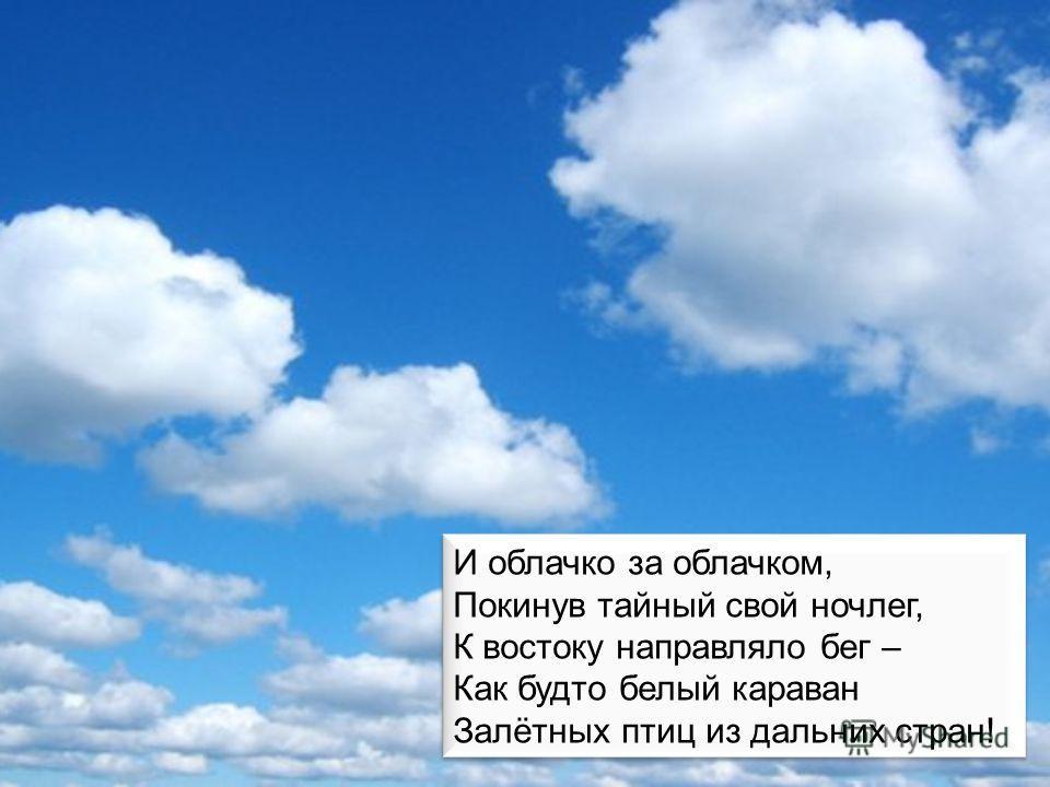И облачко за облачком, Покинув тайный свой ночлег, К востоку направляло бег – Как будто белый караван Залётных птиц из дальних стран! И облачко за облачком, Покинув тайный свой ночлег, К востоку направляло бег – Как будто белый караван Залётных птиц