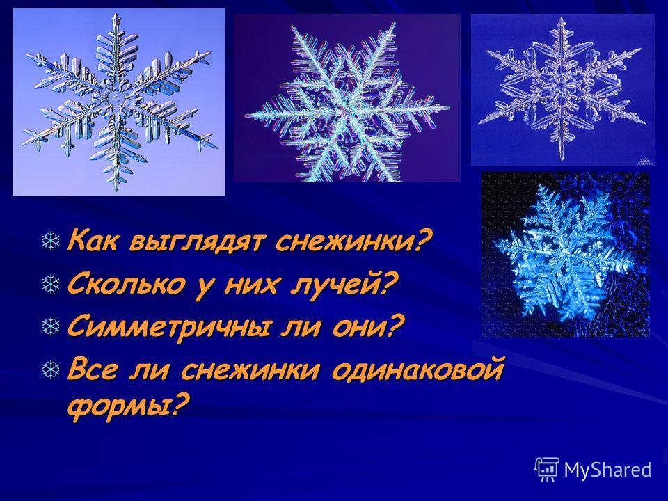Как выглядят снежинки? Как выглядят снежинки? Сколько у них лучей? Сколько у них лучей? Симметричны ли они? Симметричны ли они? Все ли снежинки одинаковой формы? Все ли снежинки одинаковой формы?