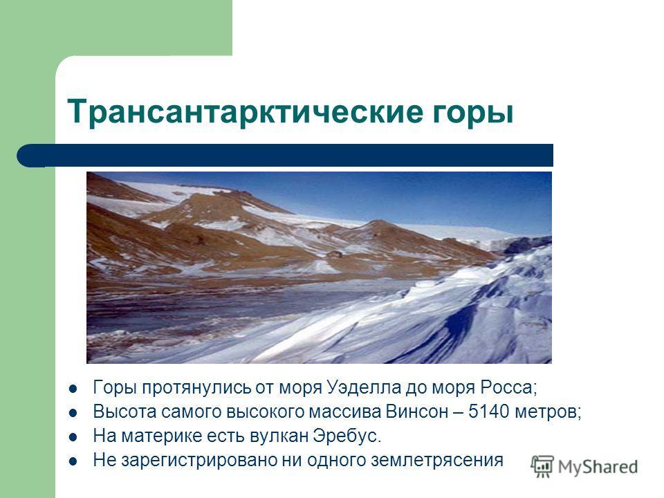 Трансантарктические горы Горы протянулись от моря Уэделла до моря Росса; Высота самого высокого массива Винсон – 5140 метров; На материке есть вулкан Эребус. Не зарегистрировано ни одного землетрясения