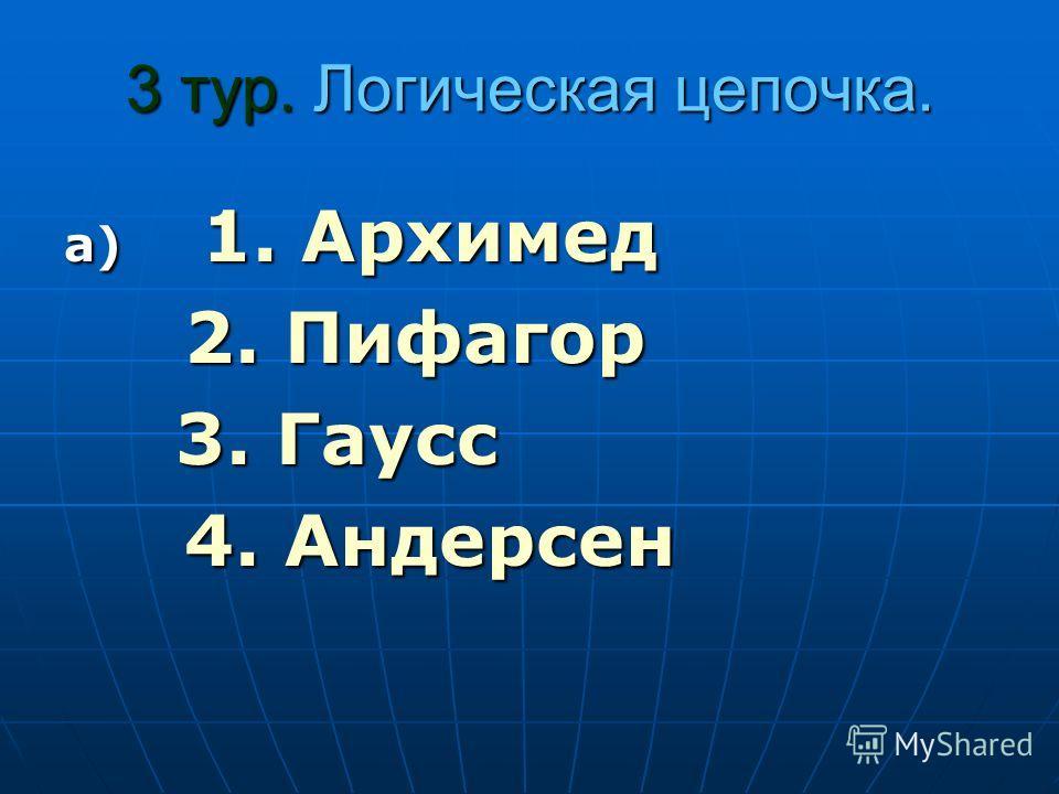3 тур. Логическая цепочка. а) 1. Архимед 2. Пифагор 2. Пифагор 3. Гаусс 3. Гаусс 4. Андерсен 4. Андерсен