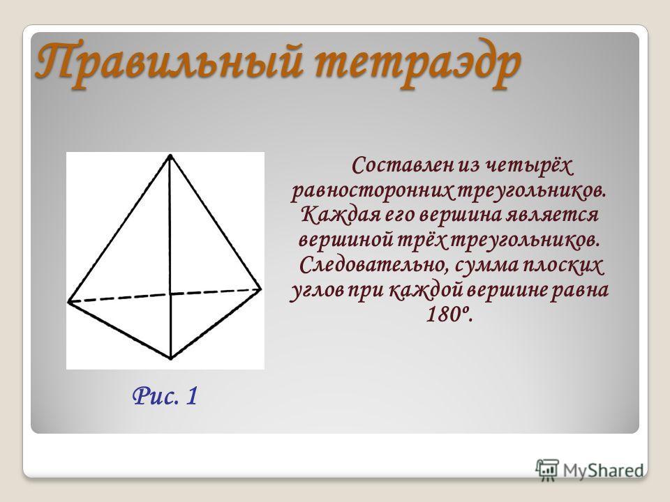 Правильный тетраэдр Составлен из четырёх равносторонних треугольников. Каждая его вершина является вершиной трёх треугольников. Следовательно, сумма плоских углов при каждой вершине равна 180º. Рис. 1