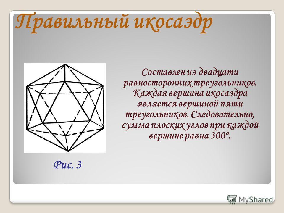 Правильный икосаэдр Составлен из двадцати равносторонних треугольников. Каждая вершина икосаэдра является вершиной пяти треугольников. Следовательно, сумма плоских углов при каждой вершине равна 300º. Рис. 3