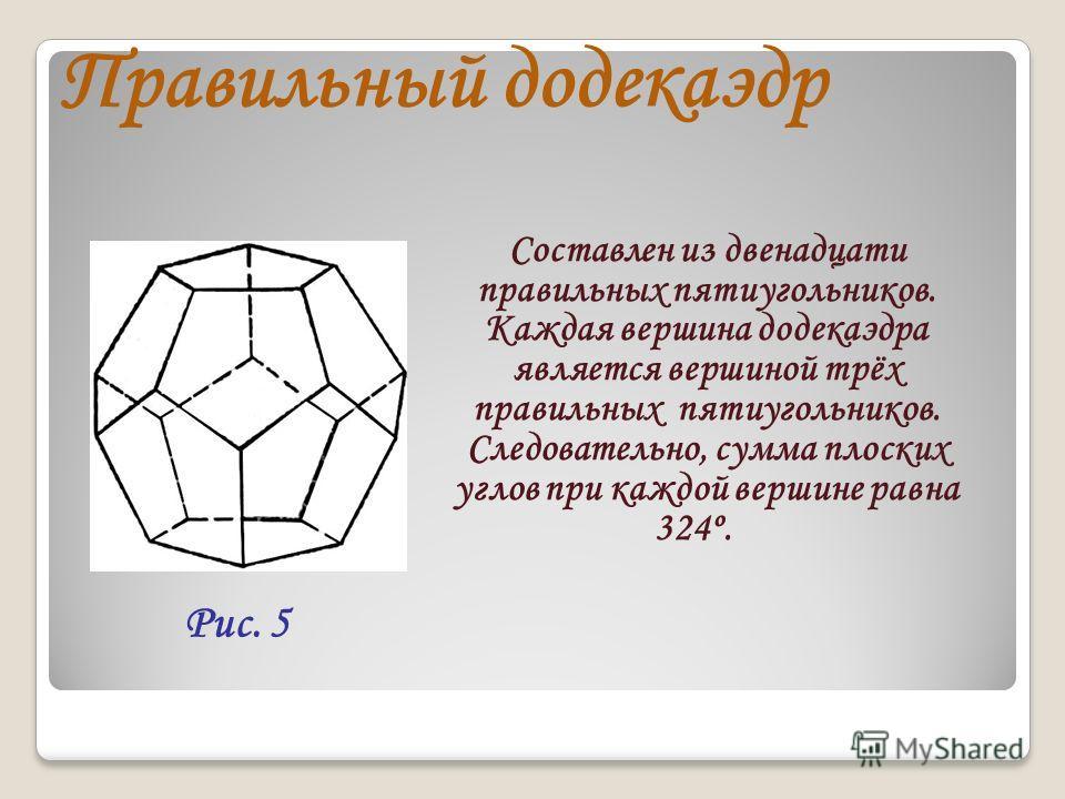 Правильный додекаэдр Составлен из двенадцати правильных пятиугольников. Каждая вершина додекаэдра является вершиной трёх правильных пятиугольников. Следовательно, сумма плоских углов при каждой вершине равна 324º. Рис. 5