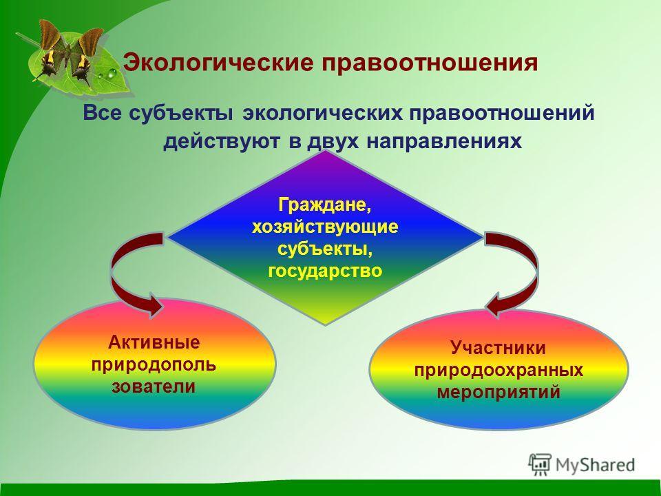 Экологические правоотношения Все субъекты экологических правоотношений действуют в двух направлениях Граждане, хозяйствующие субъекты, государство Активные природополь зователи Участники природоохранных мероприятий