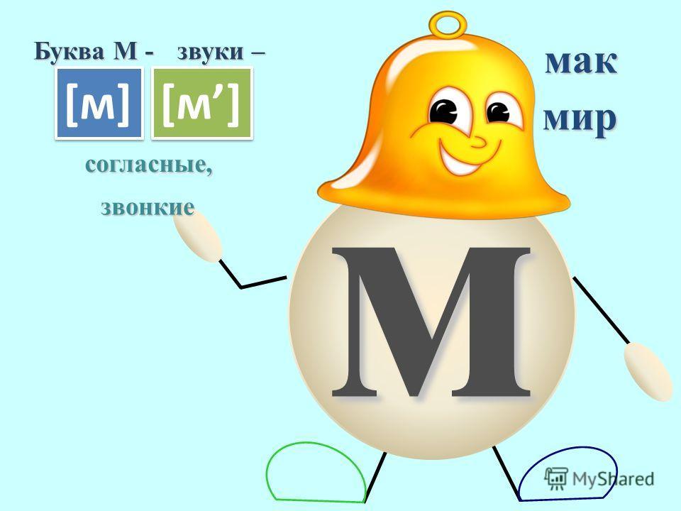 м Буква М - звуки – [м][м] [м][м] [м][м] [м][м] согласные, звонкие мак мир