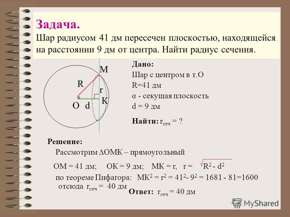 Задача. Шар радиусом 41 дм пересечен плоскостью, находящейся на расстоянии 9 дм от центра. Найти радиус сечения. Дано: Шар с центром в т.О R=41 дм α - секущая плоскость d = 9 дм М К О R d Найти: r сеч = ? Решение: Рассмотрим ОМК – прямоугольный ОМ =
