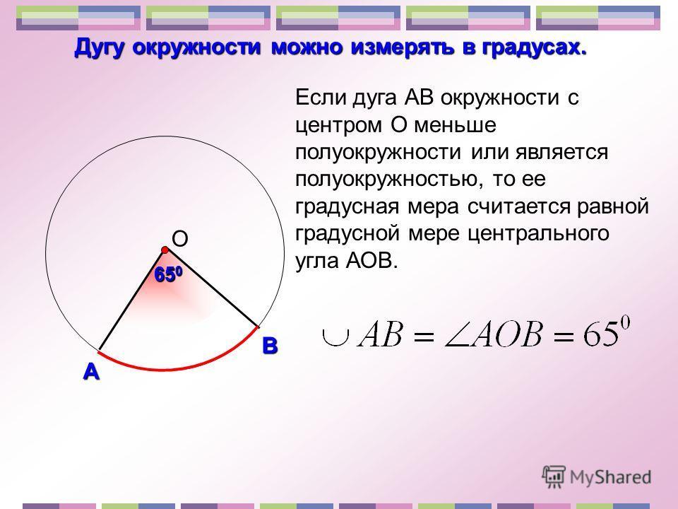 А В О Дугу окружности можно измерять в градусах. Если дуга АВ окружности с центром О меньше полуокружности или является полуокружностью, то ее градусная мера считается равной градусной мере центрального угла АОВ. 65 0