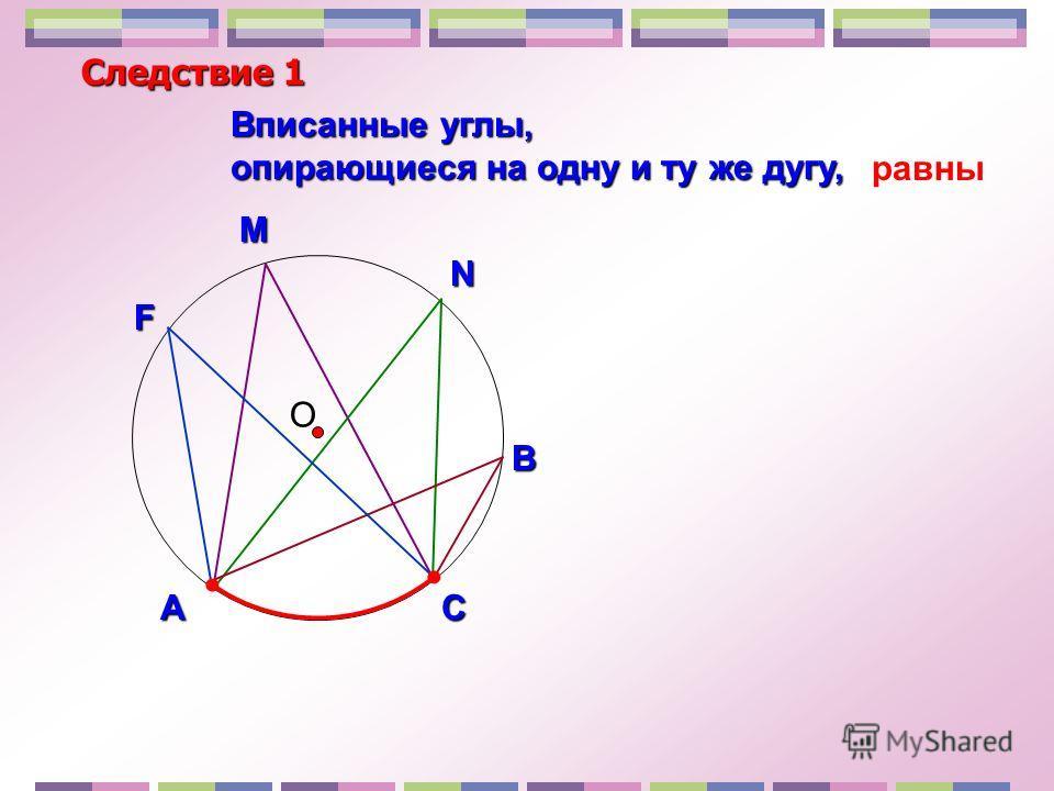 О Вписанные углы, опирающиеся на одну и ту же дугу, Следствие 1 В N M АСF равны