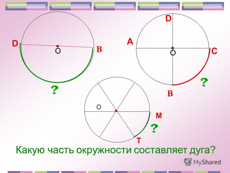 В D О О В D A C Какую часть окружности составляет дуга? О М Т