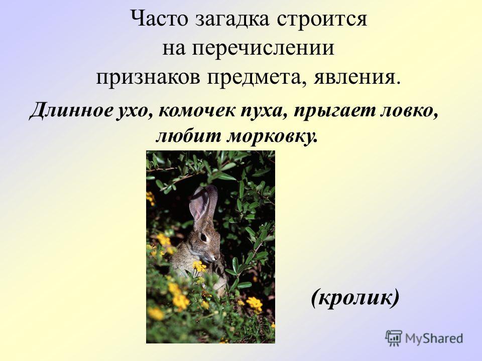 Часто загадка строится на перечислении признаков предмета, явления. Длинное ухо, комочек пуха, прыгает ловко, любит морковку. (кролик)
