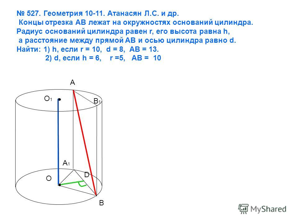 527. Геометрия 10-11. Атанасян Л.С. и др. Концы отрезка АВ лежат на окружностях оснований цилиндра. Радиус оснований цилиндра равен r, его высота равна h, а расстояние между прямой АВ и осью цилиндра равно d. Найти: 1) h, если r = 10, d = 8, AB = 13.
