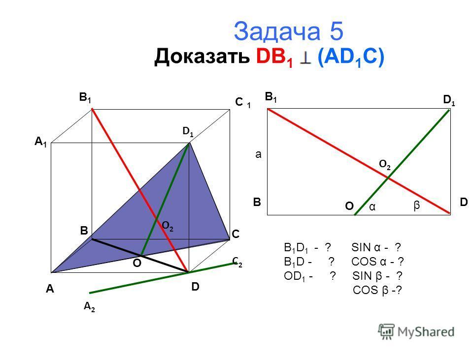 Задача 5 Доказать DB 1 (AD 1 C) A B C D A1A1 B1B1 D1D1 B 1 BD D1D1 O 2 O A 2 C 2 O O2O2 α β а B 1 D 1 - ? SIN α - ? B 1 D - ? COS α - ? OD 1 - ? SIN β - ? COS β -?