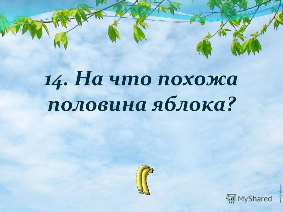 14. На что похожа половина яблока?