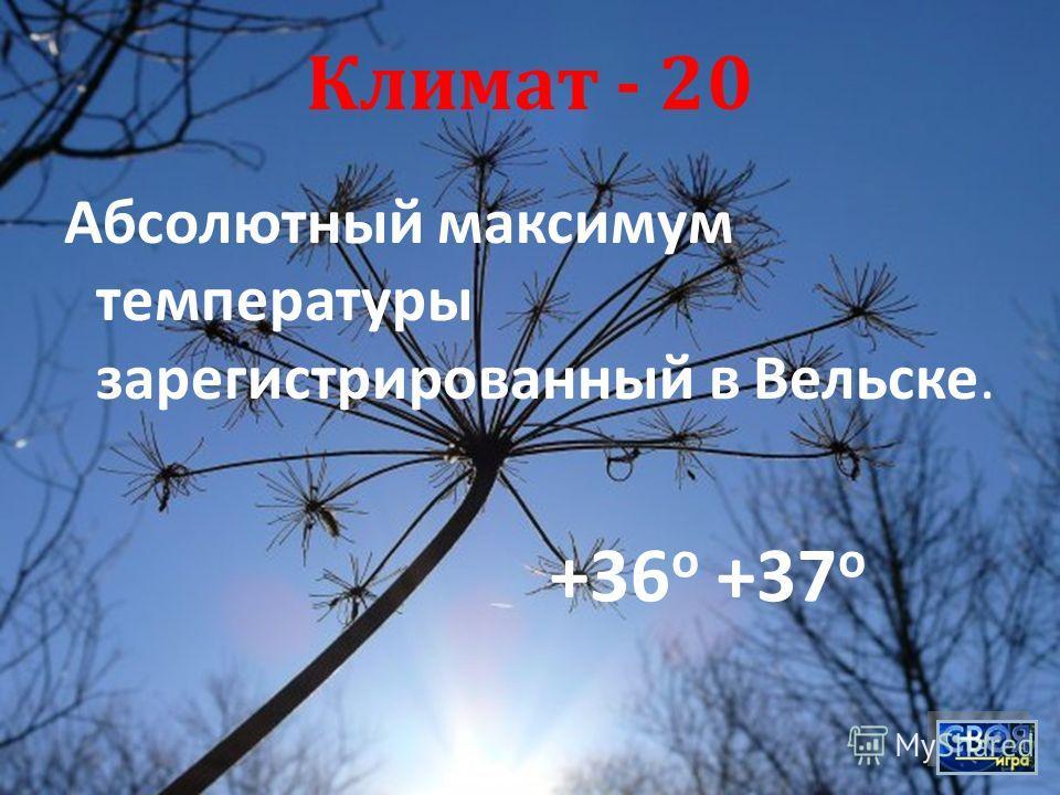 Климат - 20 Абсолютный максимум температуры зарегистрированный в Вельске. +36 о +37 о