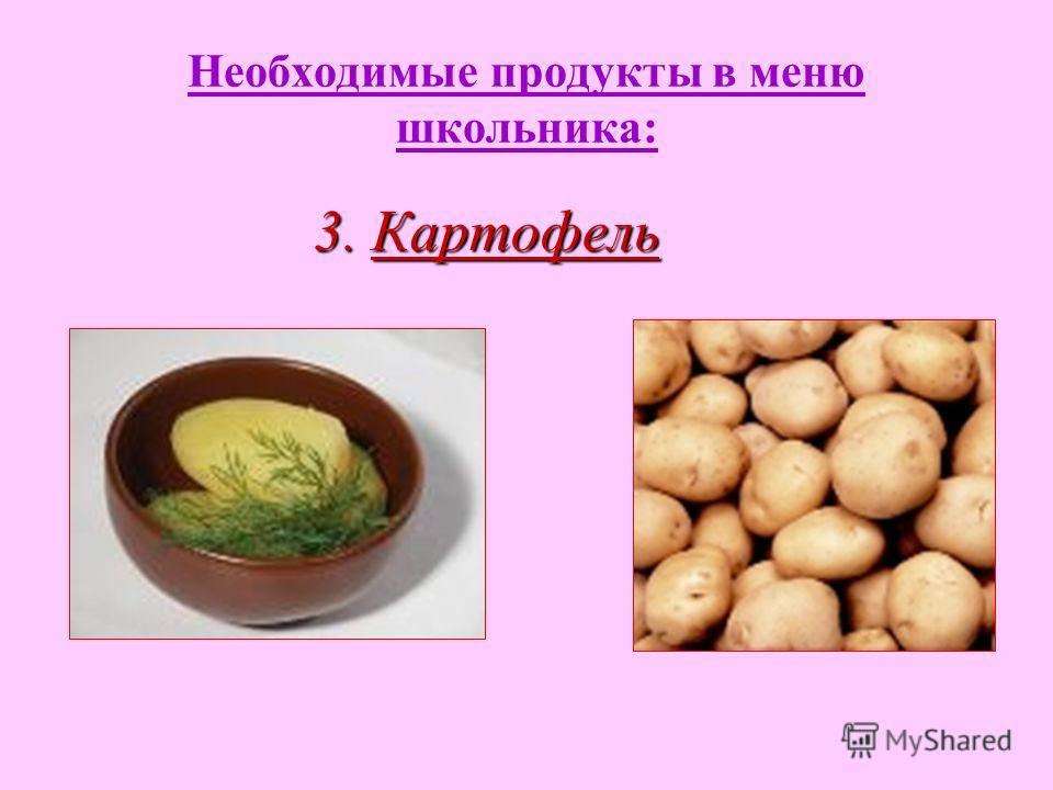 Необходимые продукты в меню школьника: 3. Картофель