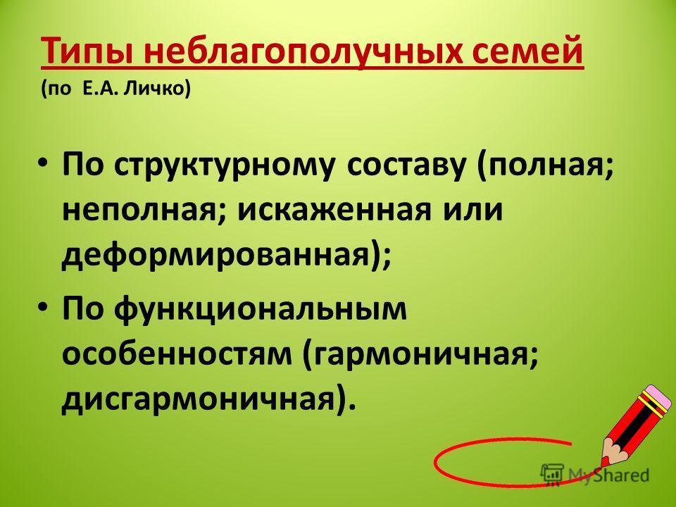 Типы неблагополучных семей (по Е.А. Личко) По структурному составу (полная; неполная; искаженная или деформированная); По функциональным особенностям (гармоничная; дисгармоничная).