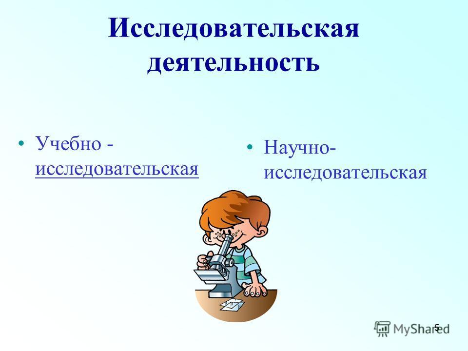 5 Исследовательская деятельность Учебно - исследовательская Научно- исследовательская