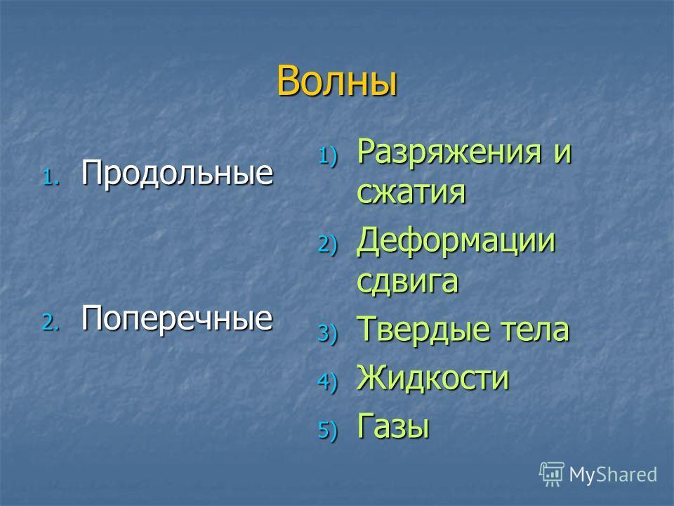Волны 1. Продольные 2. Поперечные 1) Разряжения и сжатия 2) Деформации сдвига 3) Твердые тела 4) Жидкости 5) Газы