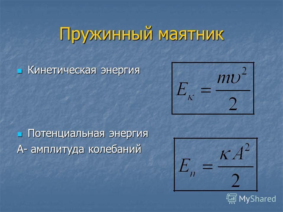 Пружинный маятник Кинетическая энергия Кинетическая энергия Потенциальная энергия Потенциальная энергия А- амплитуда колебаний