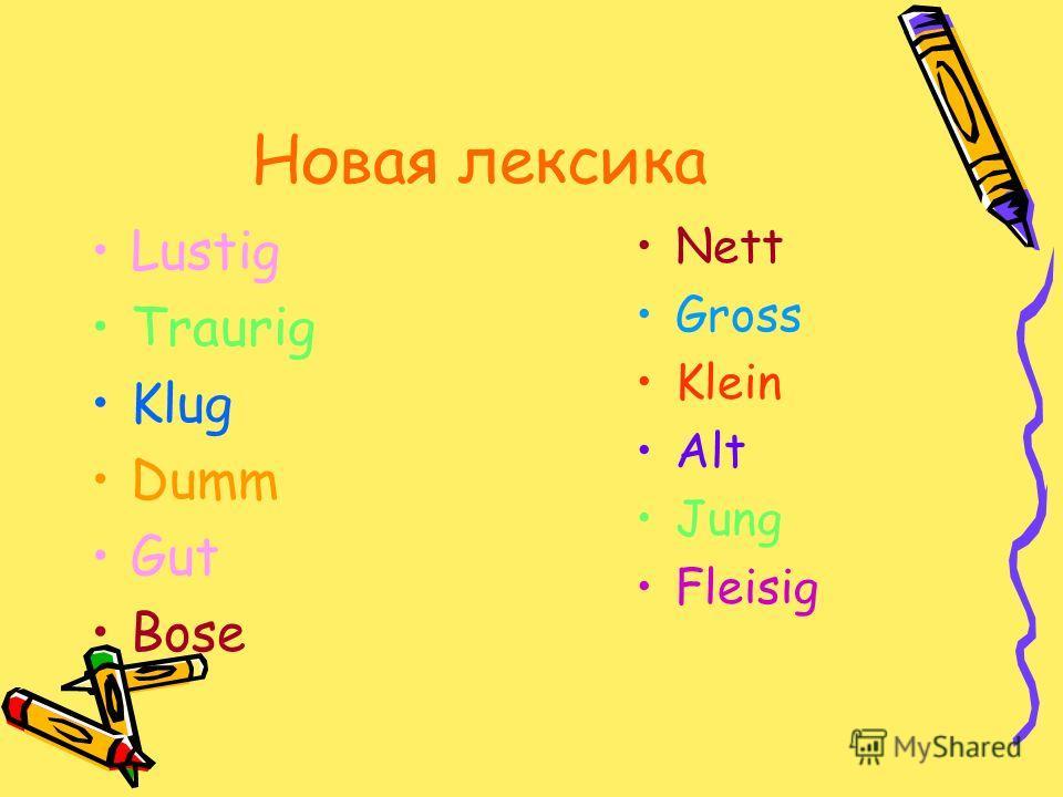 Новая лексика Lustig Traurig Klug Dumm Gut Bose Nett Gross Klein Alt Jung Fleisig