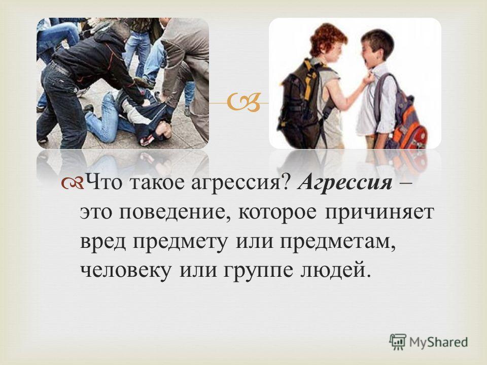 Что такое агрессия ? Агрессия – это поведение, которое причиняет вред предмету или предметам, человеку или группе людей.