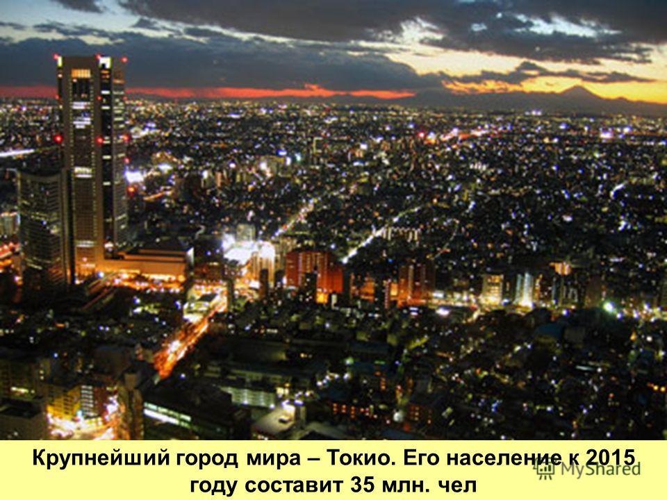 Крупнейший город мира – Токио. Его население к 2015 году составит 35 млн. чел